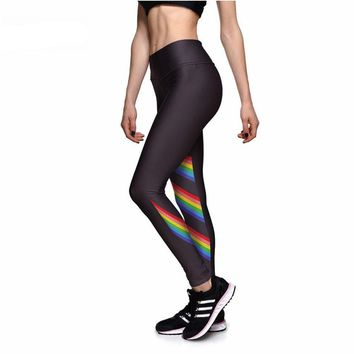 Rainbow Stripes Athletic Leggings