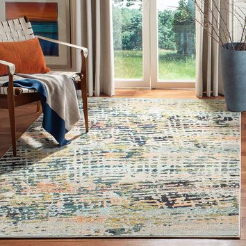 0117 Beige Navy Blue Abstract Contemporary Area Rugs