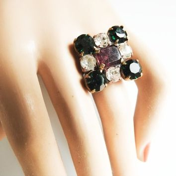 Square rings jewelry dark GREEN JEWELRY RING white green square rings for women christmas gift jewelry for her multistone womens
