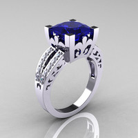French Vintage 14K White Gold 3.8 Carat Princess Blue Sapphire Diamond Solitaire Ring R222-WGDBS