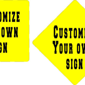 """Custom personalized 12"""" x 12"""" Yellow  Metal Aluminum Sign your own text great gifts for family and friends"""