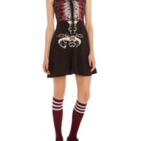 Teenage Runaway Black And Red Rib Cage Dress