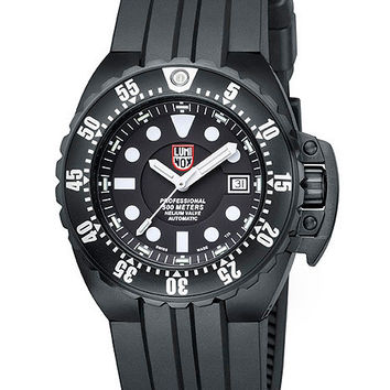 Luminox Deep Dive Automatic Mens Watch - Black Dial & Case - Polyurethane Strap