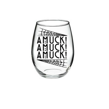 Halloween Wine Glass - Hocus Pocus Wine Glass - AMUCK! AMUCK! AMUCK! 21 oz stemless wine glasses