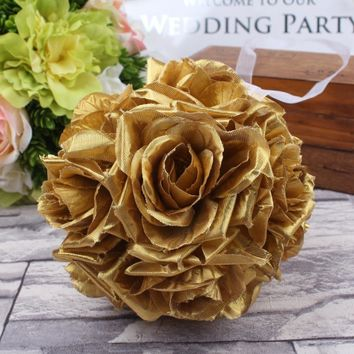 5pcs 13cm Gold Rose Flower Ball Artificial Hydrangea Hanging Kissing Balls for Wedding Party Decoration
