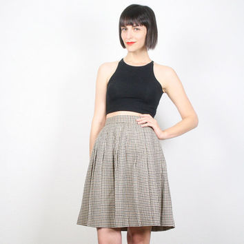 Vintage Pleated Skirt Mini Skirt High Waisted Skirt Black Brown Tan Plaid Skirt School Girl Skirt Uniform Skirt Skater Skirt Preppy S Small