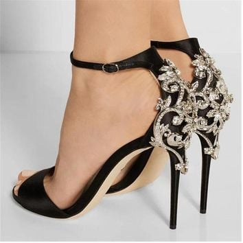 Black Rhinestone Stiletto  Crystal Thin Heels Sandal