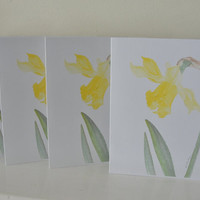 Flower Cards, Yellow Daffodil Spring Flowers, Blank Cards, Pretty Yellow Flower Cards, Floral All Occasion Cards Set of 6