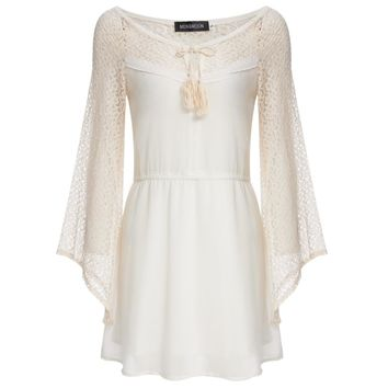 Sweet Plunging Neck Lace Spliced Flare Sleeve Solid Color Mini Dress for Women