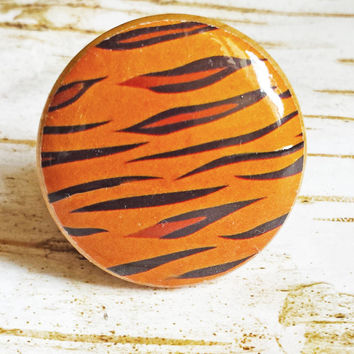 Tiger Print Wood Knobs Drawer Pulls, Animal Print Cabinet Pull Handles, Wildlife Dresser Knob Pulls,  Zoo, Nursery Knobs, Made To Order