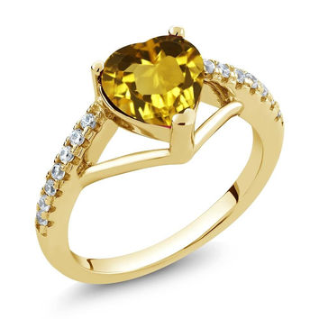 Heart Shape Yellow Citrine 18K Yellow Gold Plated Silver Ring
