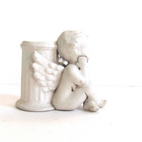 20% OFF SALE...white cherub angel planter