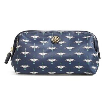 Tory Burch 'Large' Cosmetics Case - Tory Navy Canard Combo B