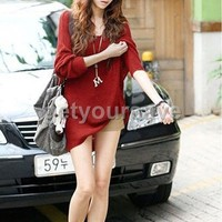 New Sexy V-neck Oversized Batwing Slouchy Knitted shirt Jumper Loose Sweater Top
