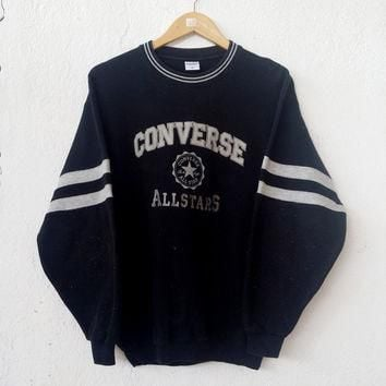 90¡¯s CONVERSE All Star Chuck Taylor Big Logo Embroided Black Rare Sweatshirt Jumper Sw