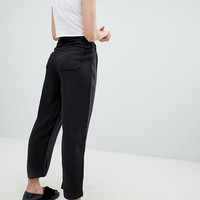 Pull&Bear wide leg ankle grazer pant in black at asos.com