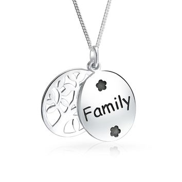 Circle Tree Life Pendant Oval Dog Tag Celtic Necklace Sterling Silver