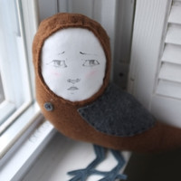 Plush owl toy, handmade doll, illustrated face, gift guide