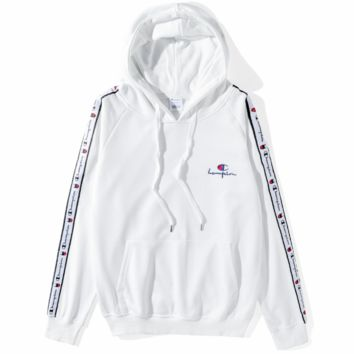 Champion autumn and winter models trend string side logo men and women models hooded sweater White