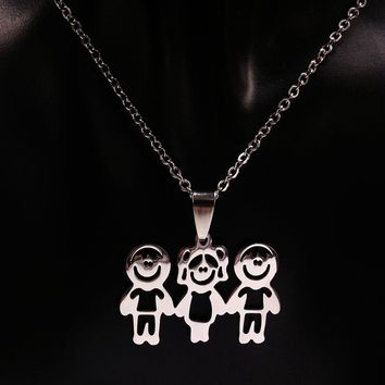 Mama Children Silver Color Stainless Steel Necklace Jewelry Love Necklaces Jewellery Best friend Necklace Women Kids N67122B