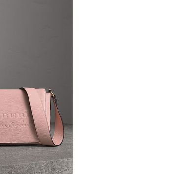 Small Embossed Leather Messenger Bag in Pale Ash Rose - Women | Burberry United States