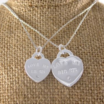 Big/Lil Sis Heart Pendant Set | A-List Greek Designs