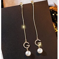 GUCCI New fashion diamond letter pearl long earring accessories