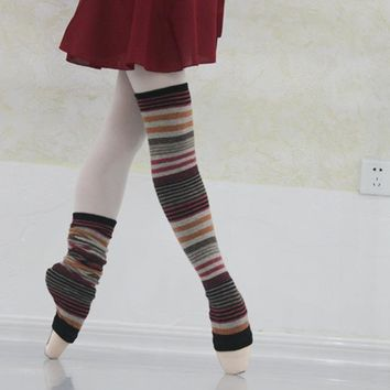 Women's Sports Socks Multicolor Stripes Wool Warm Up Yoga Dance Training Socks Long Soft Breathable Comfy Knee High Socks