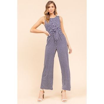 Striped Front Tie Jumpsuit - Navy-White