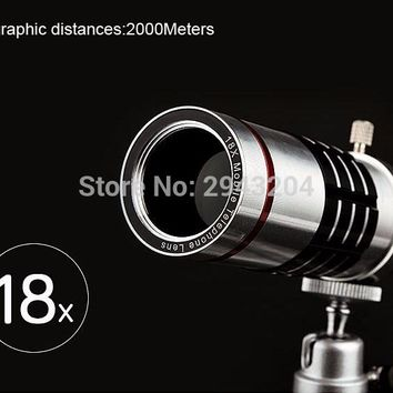Telephoto Lens w/ Tripod  for Mobile Phone Universal 18X Zoom Telescope Camera Lens for iPhone Zoom Magnifier Optical Lens 18x