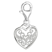 Sterling Silver clip-on heart charm