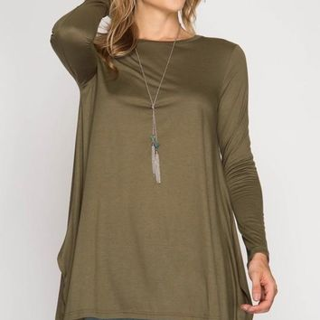 Flowy Tunic Top - Olive