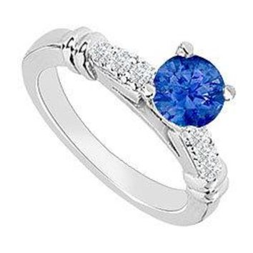 14K White Gold : Sapphire and Diamond Engagement Ring 0.60 CT TGW