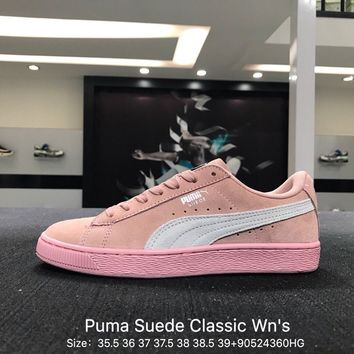 Puma Suede Classic  Wn's Women Pink White  Causel Skateboarding Shoes Sneaker - 355462-67