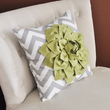 Sage Green Dahlia on Gray and White Zigzag Pillow -Chevron Pillow-
