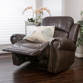 Harbor Brown Leather Glider Recliner Club Chair