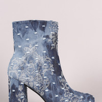 Distressed Denim Round Toe Chunky Heeled Booties | UrbanOG
