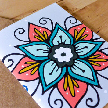 Hand-drawn Mandala Blank Greeting Card - paper goods, stationary, greeting card, thinking of you, just because, all occasion card