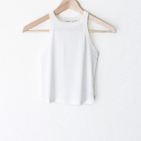 Ribbed Crop Tank Top - Ivory