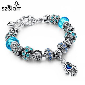 Szelam Red/Blue/Purple Hamsa Charm Bracelets For Women Crystal Beads Evil Eye Bracelets & Bangles Pulseras SBR150277