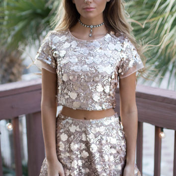 Wow Factor Rose Gold Top and Skirt Sequin Set
