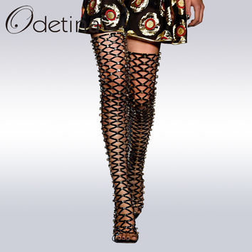 Odetina New Brand 2017 Thigh High Gladiator Sandals Boots Women Sexy Peep Toe High Heel Cut-out Over The Knee Summer Boots Rivet