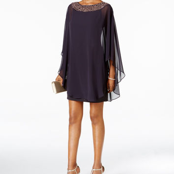 Xscape Embellished Chiffon Cape-Overlay Dress