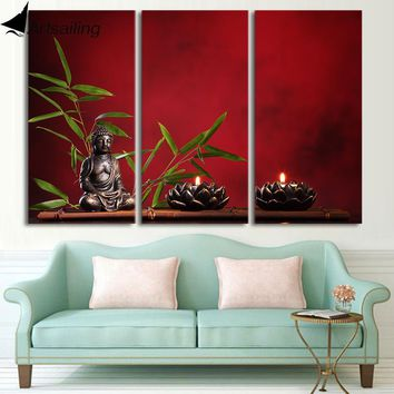 HD Printed 3 piece canvas art Zen Buddha meditation Buddha religion Painting room decor poster zen wall art CU-3130C