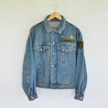United Colors of Benneton Denim Jacket Made in Italy Drop Sleeve  Vintage 80's Era Military theme Patches Flag of Norway denim Jacket