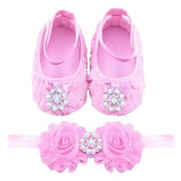 Baby Girls First Walkers Pink Flower Princess Footwear Girls Shoes