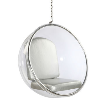 Bubble Hanging Chair, Silver Polished Chrome