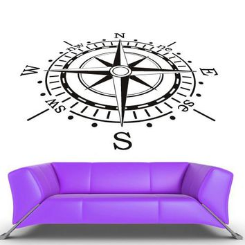 Wall Decal Decal Sticker Bedroom Decals Compass Nord East South West  z677