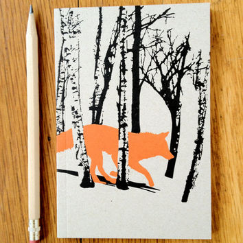 Running Fox in the woods Journal, blank white paper, mini sketch book, original design, all recycled paper