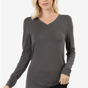 Plus Size V-Neck Long Sleeve Tee - 7 Colors!